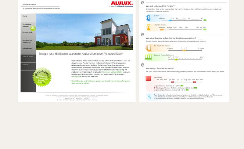 Screenshot der Spar-Heizkosten-Webseite